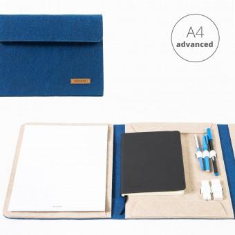 RÅVARE Dokumentenmappe für A4-Dokumente, Kalender, Planer und Tablet ≤12.3″ in blau-beige [HENNE]