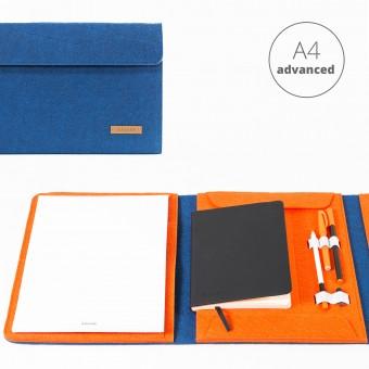 RÅVARE Dokumentenmappe für A4-Dokumente, Kalender, Planer und Tablet ≤12.3″ in blau-orange [HENNE]