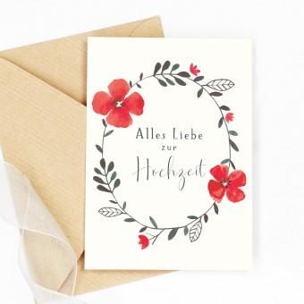 Paperlandscape | Faltkarte | Hochzeitskarte Blumenkranz