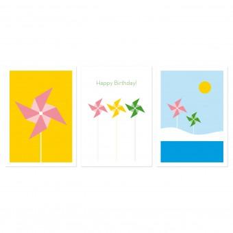 """3 Held&Lykke Postkarten """"PinwheelMail"""" Gelb"""