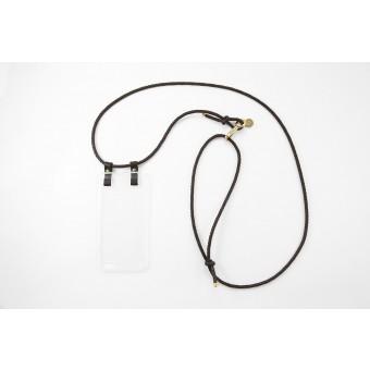 Lapàporter – iPhone Hülle zum Umhängen mit geflochtener Lederkordel, dunkelbraun/gold
