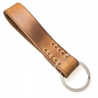 LIEBHARDT - Leder Schlüsselanhänger, handgenäht aus pflanzlich gegerbtem Echt-Leder - massive Sattlernaht - handstitched (braun mit dunkelbeiger Naht)