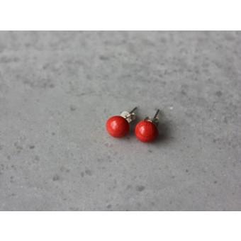 Skelini - Rot Porzellan runde Ohrstecker