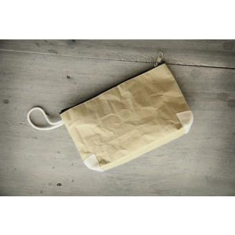 BY COPALA – Federmappe, Kulturbeutel, handgefertigtes Etui aus Zementsack-Papier