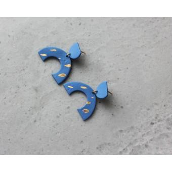 Skelini - Kobaltblaue, matte Porzellanohrringe mit Gold Flecken