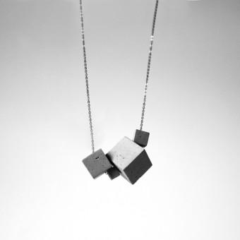 Beton Kette 4CB, Silber gliederkette, Betonschmuck, Geschenk für Architektin, moderner Schmuck by ORTOGONALE