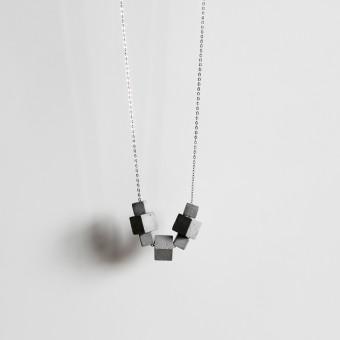 Brutalistische Beton Kette 7CB mit italienischer 925 Silber Gliederkette | ORTOGONALE