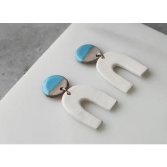Skelini - weiß und hellblau Porzellanohrringe