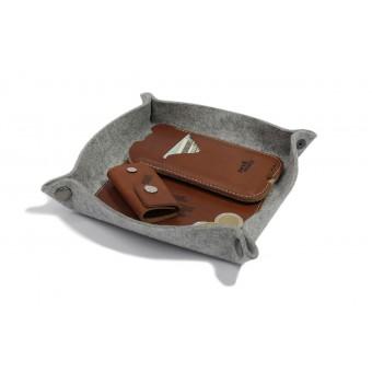 Aufbewahrungsschale, Schlüsselabage, Taschenleerer CORBY - Natur Leder, 100% Merino Wollfilz