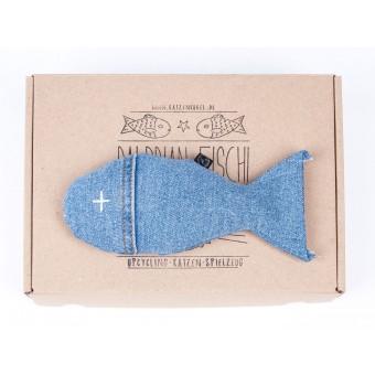 karolchicks Fisch gefüllt mit Baldrian - Upcycling Katzenspielzeug (handgefertigt)