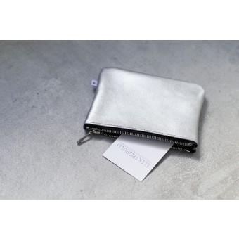 ElektroPulli Handgefertigte Geldbörse/Täschchen aus echtem Leder in silber