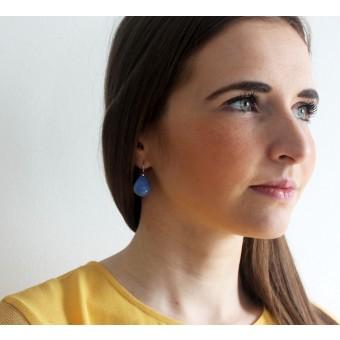 Skelini - Kobaltblau Tropfen Ohrhänger aus Porzellan