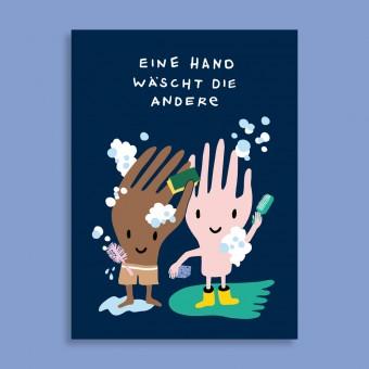 Family Tree Shop / Postkarte / Eine Hand wäscht die andere