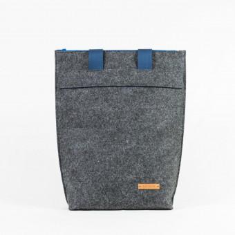RÅVARE Schultertasche Shopper aus Nadelfilz grau-blau [IWA]