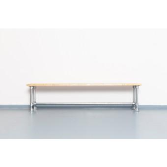 Upcycling Sitzbank aus Gerüstrohr und Massivholz | THEO