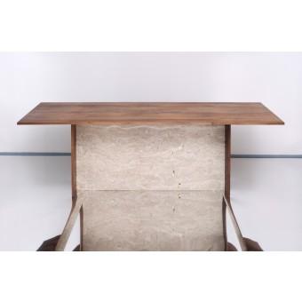 JOHANENLIES | Tisch aus recyceltem Eichenholz und Travertin