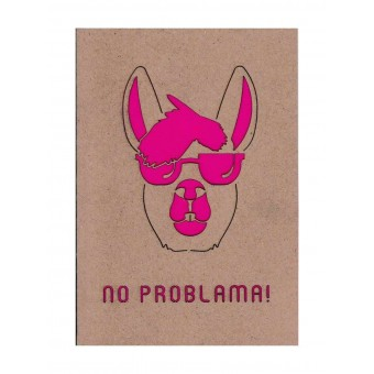 """MONASTINE - Karte """"No Problama №1"""" – Recyclingpapier mit Kuvert und pinkem Einleger"""