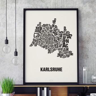 Buchstabenort Karlsruhe Stadtteile-Poster Typografie Siebdruck