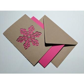 """MONASTINE   Weihnachtskarte """"Snefnug №1"""" – Recyclingpapier mit Kuvert und pinkem Einleger"""