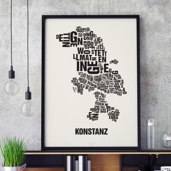 Buchstabenort Konstanz Stadtteile-Poster Typografie Siebdruck