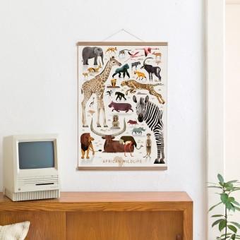 Set / African Wildlife + Posterleiste Eiche 50 cm