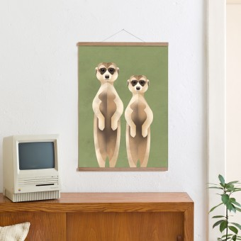 KLEINWAREN / VON LAUFENBERG Set / Meerkats + Posterleiste Eiche 50cm