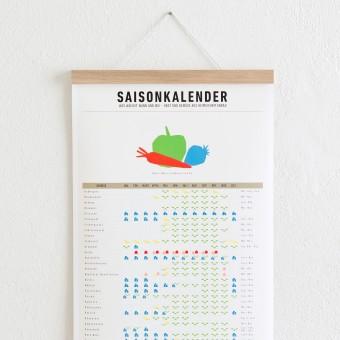 KLEINWAREN / VON LAUFENBERG Set / Saisonkalender + Magnetische Posterleiste Eiche A3
