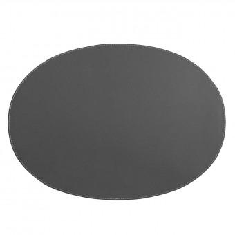 adorist. -Leder Tischset, Lederunterlage, oval, grau