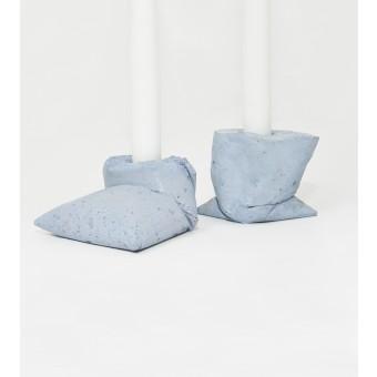 LJ LAMPS kappa blau, zwei Kerzenständer aus Beton