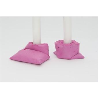 LJ LAMPS kappa pink, zwei Kerzenständer aus Beton