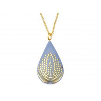 lille mus Porzellan-Halskette Tropfen - Pfau (verschiedene Farben)