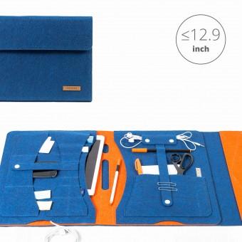 RÅVARE Tablet Organizer für große Tablets ≤12.9″ mit vielen Stecklaschen, iPad, Microsoft Surface, Samsung in blau-orange [KOCO L]