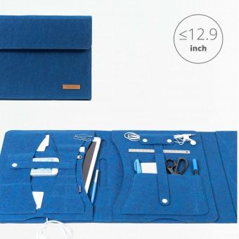 RÅVARE Tablet Organizer für große Tablets ≤12.9″ mit vielen Stecklaschen, iPad, Microsoft Surface, Samsung in blau [KOCO L]