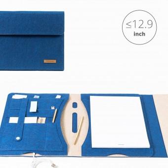 RÅVARE Tablet Organizer für große Tablets ≤12.9″ mit Schreibblock, iPad, Microsoft Surface, Samsung in blau-beige [KORA L]