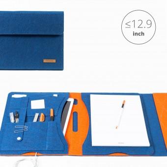 RÅVARE Tablet Organizer für große Tablets ≤12.9″ mit Schreibblock, iPad, Microsoft Surface, Samsung in blau-orange [KORA L]