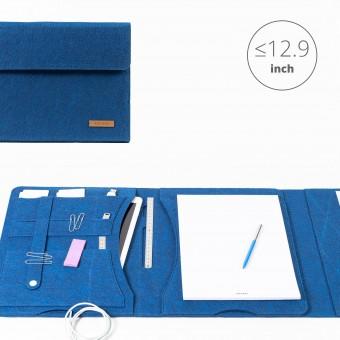 RÅVARE Tablet Organizer für große Tablets ≤12.9″ mit Schreibblock, iPad, Microsoft Surface, Samsung in blau [KORA L]
