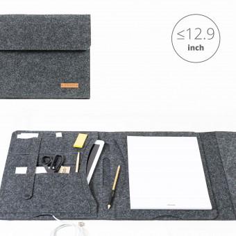 RÅVARE Tablet Organizer für große Tablets ≤12.9″ mit Schreibblock, iPad, Microsoft Surface, Samsung in grau [KORA L]
