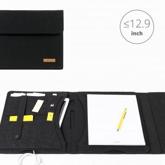 RÅVARE Tablet Organizer für große Tablets ≤12.9″ mit Schreibblock, iPad, Microsoft Surface, Samsung in schwarz [KORA L]
