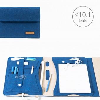 RÅVARE Tablet Organizer für kleine und mittlere Tablets ≤10.1″ mit Schreibblock, iPad, Samsung in blau-beige [KORA M]