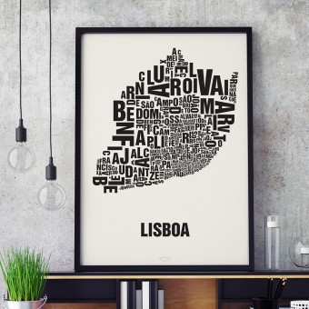 Buchstabenort Lissabon Poster Typografie Siebdruck