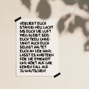 "Love is the new black — Poster ""VERLIEBT EUCH"", DIN A4 Format"
