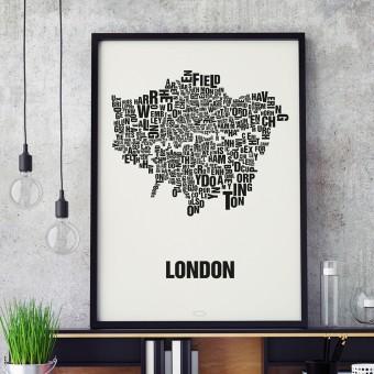 Buchstabenort London Stadtteile-Poster Typografie Siebdruck