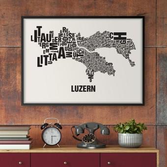 Buchstabenort Luzern Stadtteile-Poster Typografie Siebdruck