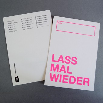 Bob And Uncle Design LASS MAL WIEDER Postkarte (4er-Set, Gold oder Leuchtpink, Siebdruck)