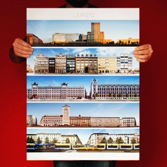 PanoramaStreetline Leipzig Streetline Poster A1
