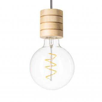 Lichtliebe – Pendelleuchte Fafoo in Eiche und stylischer Edison Spiral LED mit nur 1,8 Watt