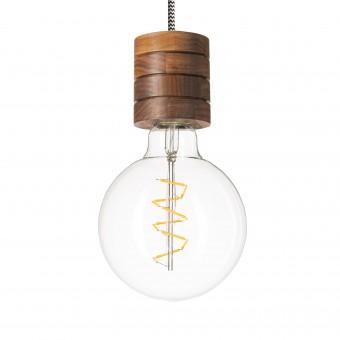 Lichtliebe – Pendelleuchte Fafoo in Nussbaum mit stylischer Edison Spiral LED im Retro Design und nur 1,8 Watt