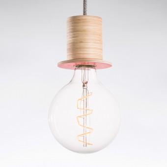 """Lichtliebe Pendelleuchte """"Fafoo"""" in altrosa und grau meliert inkl. Edison Spiral LED im Retro Design mit nur 1,8 Watt"""
