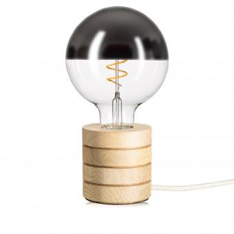 Lichtliebe – Tischleuchte Fafoo in Eiche mit stylischer Edison Mirror LED Kopfspiegellampe und nur 5 Watt