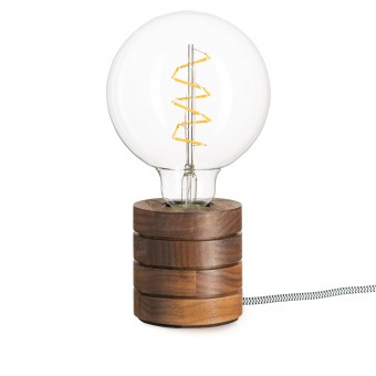 Lichtliebe – Tischleuchte Fafoo in Nussbaum mit Edison Spiral LED im Retro Design und nur 1,8 Watt